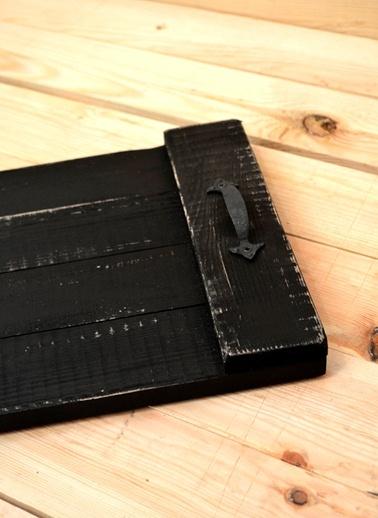 Eskitme Doğal Tepsi Siyah-Oldwooddesign